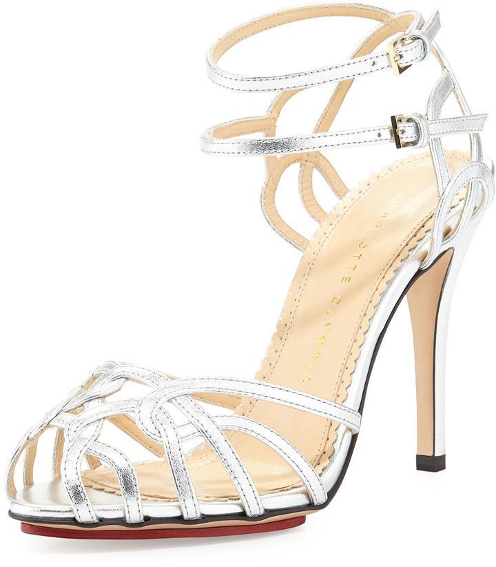 Mariage - Charlotte Olympia Ursula Strappy Platform Sandal, Silver