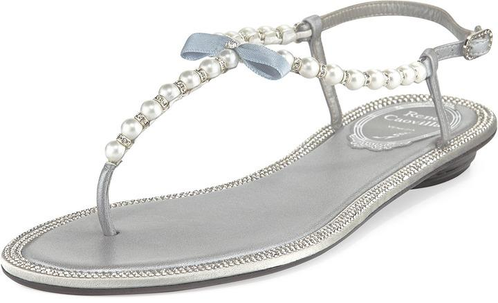 Rene Caovilla Pearly Crystal Flat Thong Sandal Silver