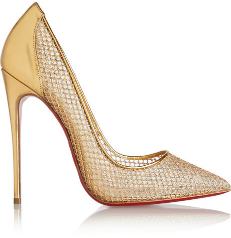 Wedding - Christian Louboutin Follies Resille 120 metallic leather and fishnet pumps