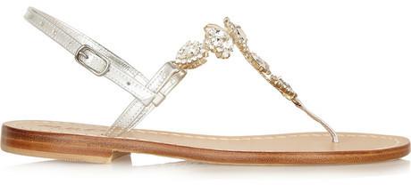 Hochzeit - Musa Swarovski crystal-embellished metallic leather sandals