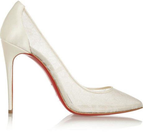 Hochzeit - Christian Louboutin Pigalace 100 satin and lace pumps