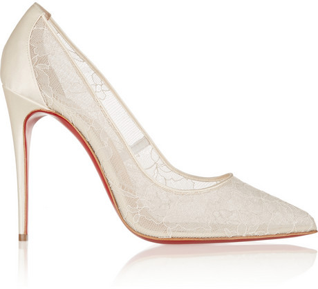 Christian Louboutin Follies 100 Lace And Satin Pumps 2153840 Weddbook