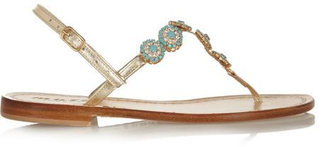 زفاف - Musa Swarovski crystal-embellished metallic leather sandals