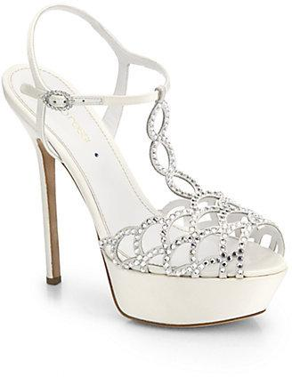Hochzeit - Sergio Rossi Crystal-Coated Satin T-Strap Sandals