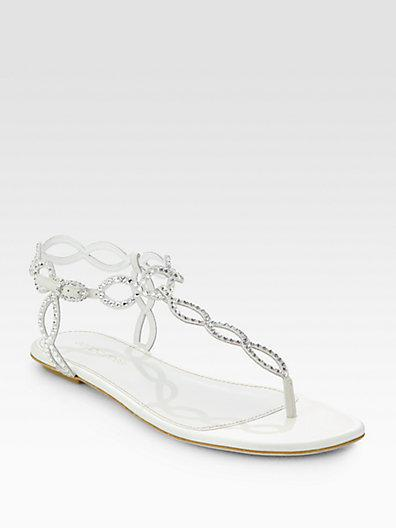 Mariage - Sergio Rossi Bridal Crystal-Coated Suede Thong Sandals