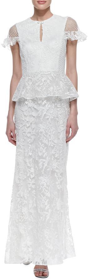 Hochzeit - Tadashi Shoji Cap Sleeve Lace Peplum Gown, White