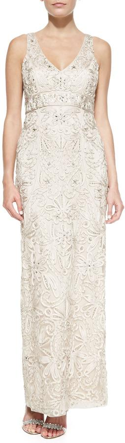 Mariage - Sue Wong Embroidered V-Neck Gown, Antique Champagne