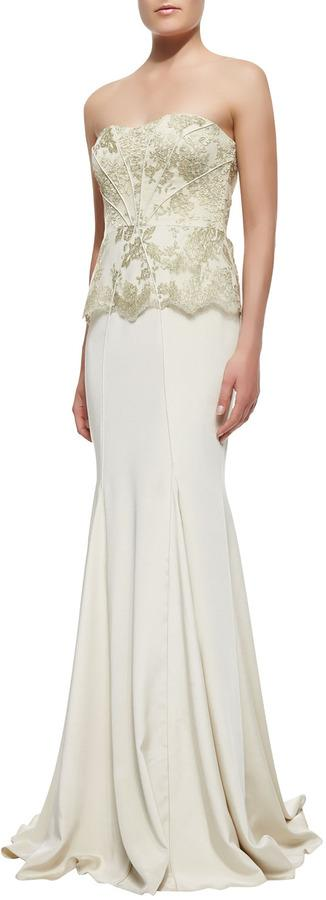 Mariage - Badgley Mischka Collection Strapless Brocade-Bodice Gown