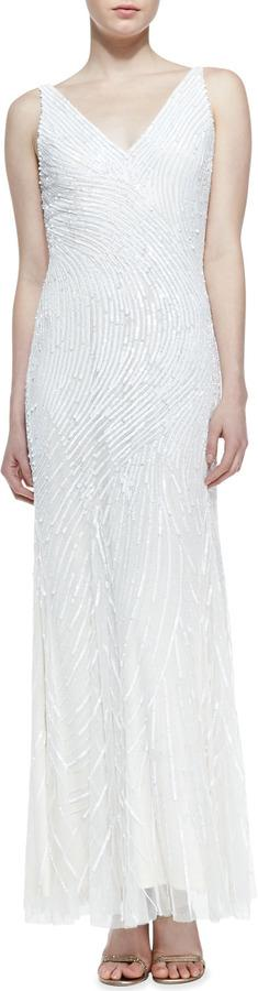 Mariage - Aidan Mattox Sleeveless Sequined Swirl Pattern Gown, Ivory