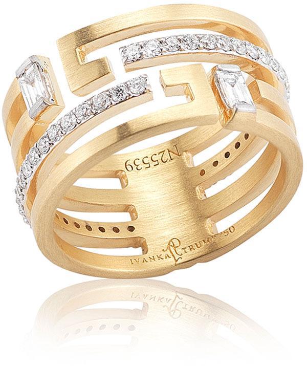 Mariage - Ivanka Trump Metropolis 18k Geometric Wedding Band Ring with Deco Diamonds