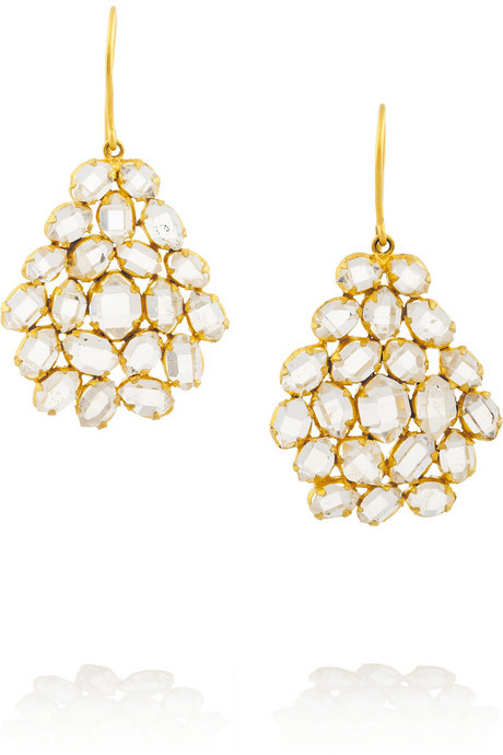 Pippa Small 18-karat Gold Herkimer Diamond Earrings yx1AmE