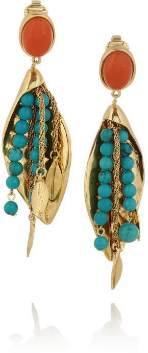 Свадьба - Aurélie Bidermann Monteroso gold-plated turquoise clip earrings