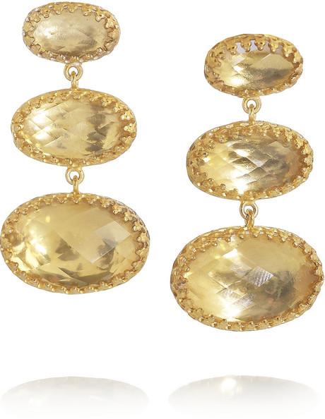 Свадьба - Larkspur & Hawk Tessa 22-karat gold-dipped topaz earrings