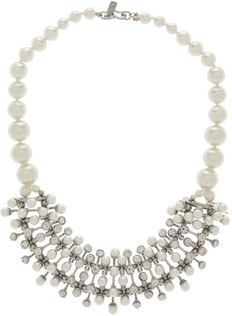 Mariage - Kenneth Jay Lane Rhodium-tone, faux pearl and crystal necklace