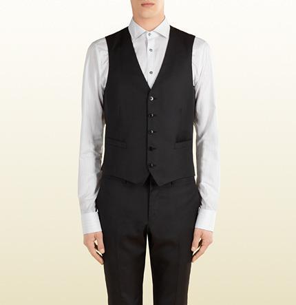 Свадьба - Black Wool Silk Vest