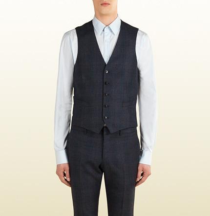 Hochzeit - Blue Grey Wool Check Vest
