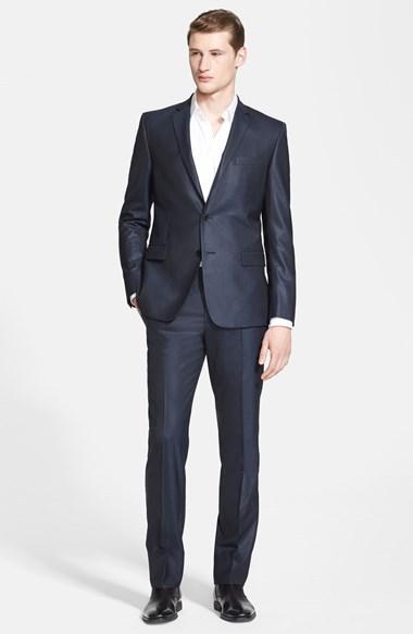Свадьба - Versace Collection Navy Sharkskin Wool Suit