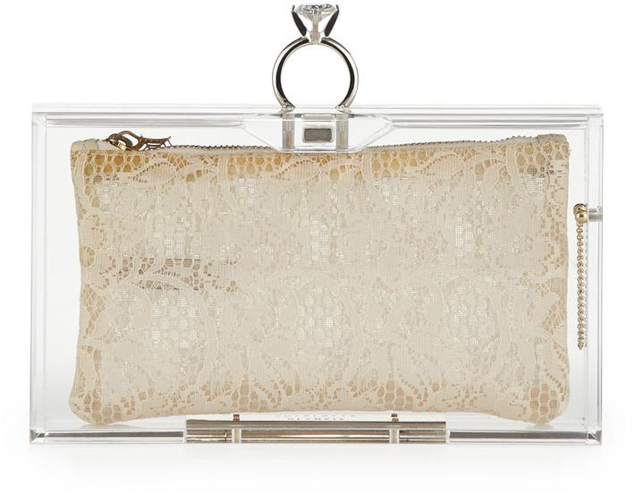 Hochzeit - Charlotte Olympia Pandora Marry Me Box Clutch, Clear