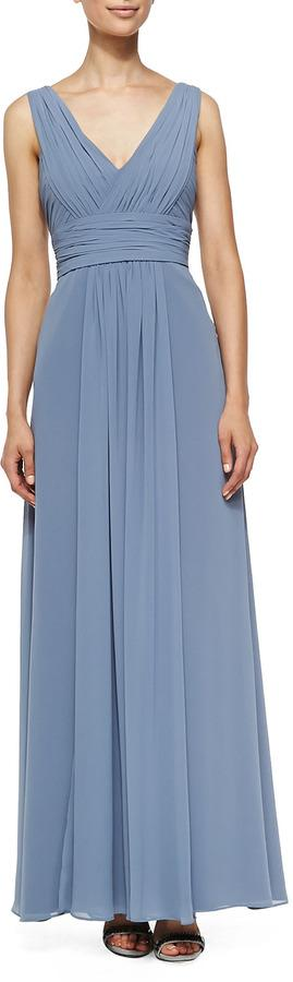 cc0db50a7a387 ML Monique Lhuillier Sleeveless Deep V-Neck Gown, French Blue ...