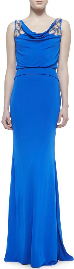 Hochzeit - Badgley Mischka Collection Cowl-Neck Gown with Sheer Flowers at Shoulders, Blue