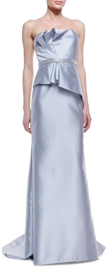 Wedding - Carmen Marc Valvo Strapless Ruffle-Bodice Beaded-Waist Gown, Silver
