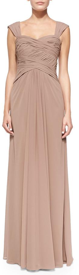 Mariage - ML Monique Lhuillier Sleeveless Ruched Bodice Gown, Latte