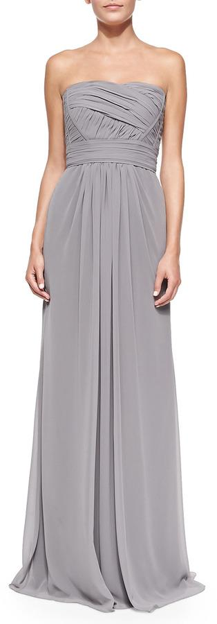 Mariage - ML Monique Lhuillier Strapless Draped Ruched-Bodice Gown, Slate