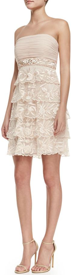 Mariage - Sue Wong Strapless Tiered-Lace Cocktail Dress, Blush