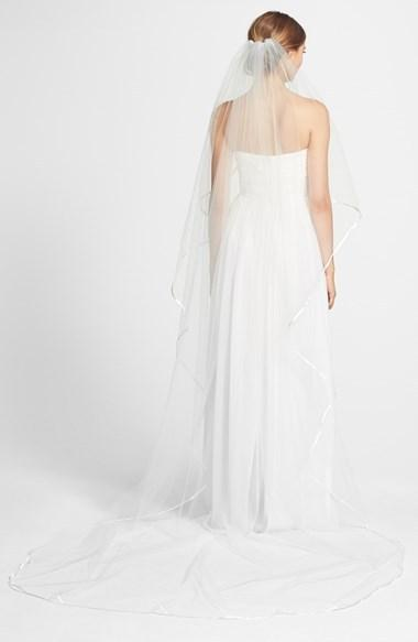 زفاف - Nina 'Elise' Satin Trim Veil