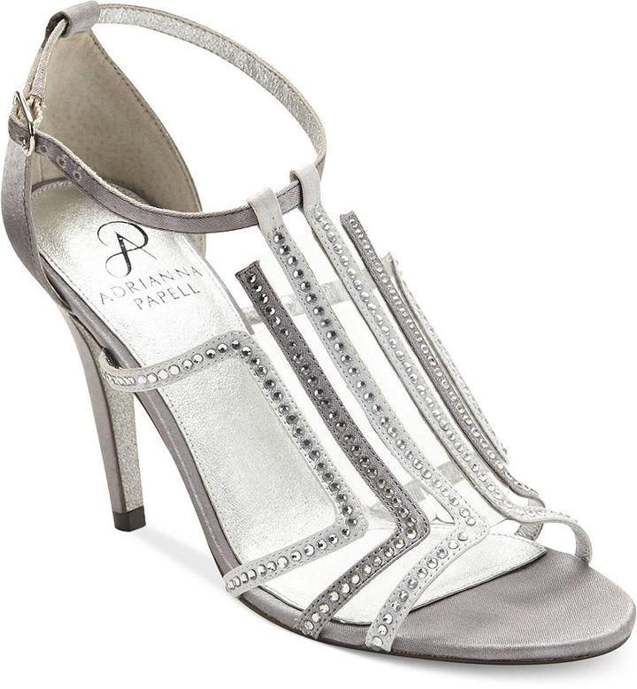 ADRIANNA PAPELL Selina Embellished Leather and Mesh Ballet F
