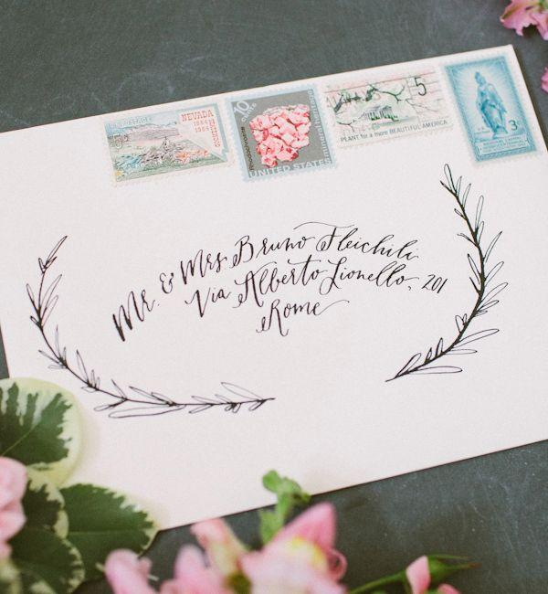 Envelope Inspiration Calligraphy And Vintage Stamps