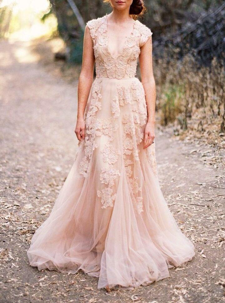 Blush Wedding Dress Reem Acra : Blush wedding pretty pink weddings weddbook