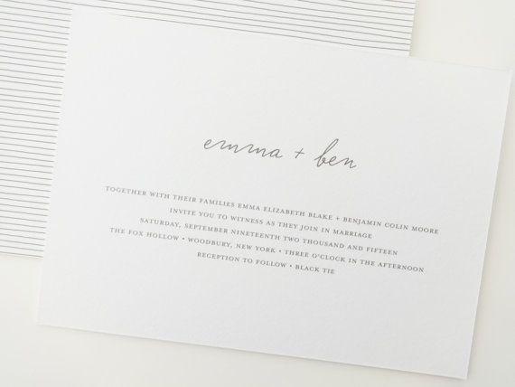 Hochzeit - Emma Simple Wedding Invitation Deposit / Rehearsal Dinner Invitations / Kraft Rustic Wedding Invitation / Minimalist Wedding Invitation /