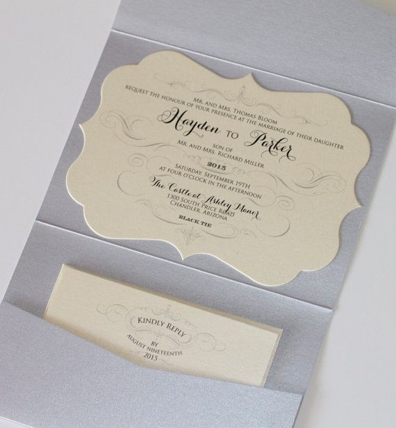 Mariage - Hayden Die-cut Frame Horizontal Pocket Fold Wedding Invitation - Sample - Ivory, Champagne, Silver Glitter