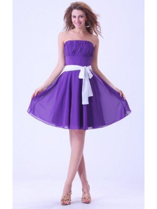 Sexy 2014 Short Purple Cocktail Bridesmaid Dress