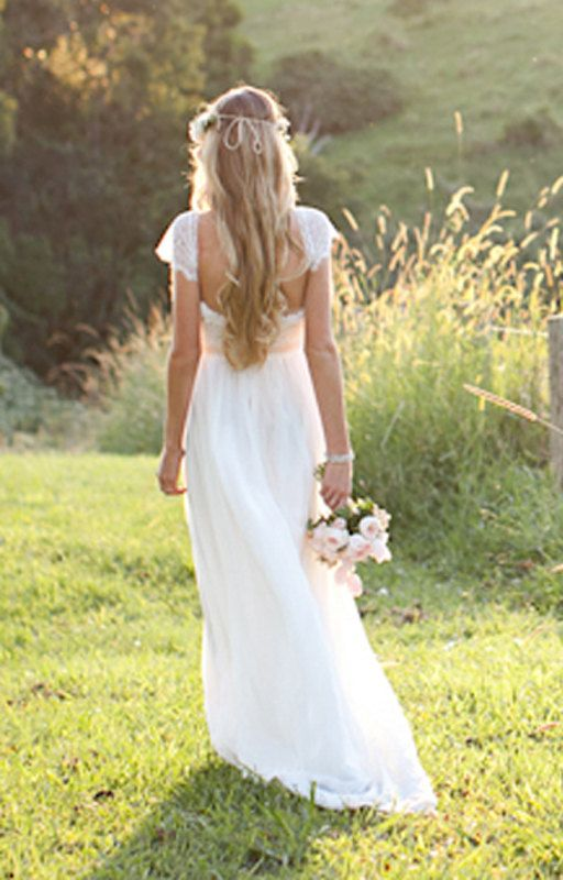 Beautiful low back wedding dress with lace capped sleeves for T back wedding dress