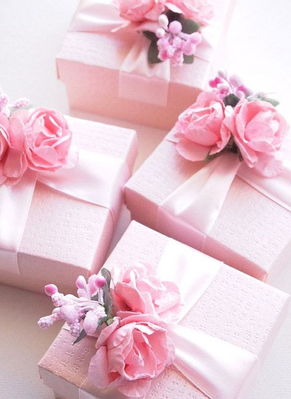 Wedding Favors Blush Pink Ivory Fuchsia Ring Jewelry Box