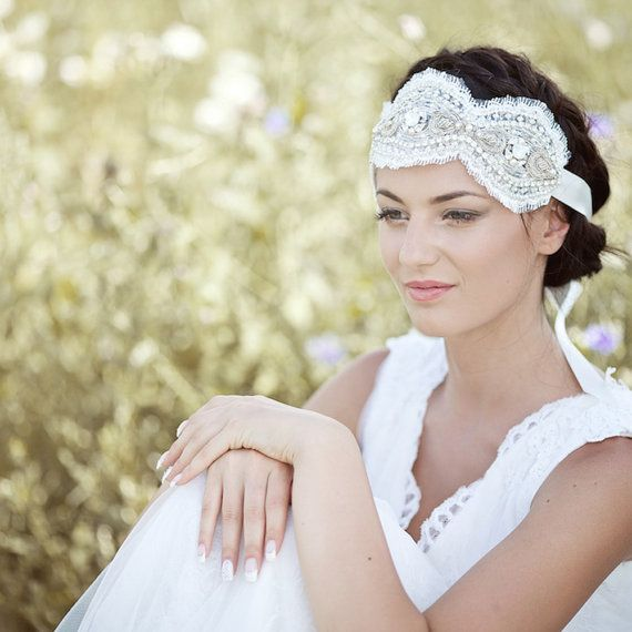 Hochzeit - Vintage Bridal Headband, Adornment Rhinestone Pearl Lace Bridal Art Nouveau Wedding Accessory, White Opal Ivory Embroidered VS5-130