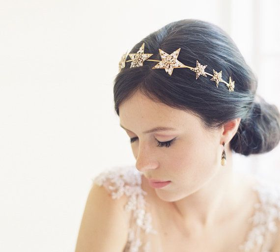 Mariage - Jeweled Star Filigree Bridal Headband - Northstar No. 2022