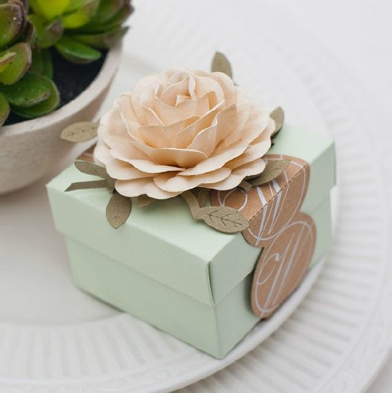 Light Green Wedding Favors Candy Box With Ivory Flowers Candy Box Wedding Fabor DIY Party