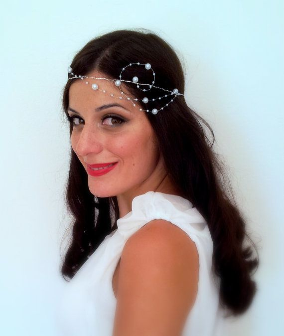 Mariage - Bridal Tiara, Wedding Hair Crown, Ivory Pearl Hair Piece, Bridal Headpiece, Whimsical Bridal Headband
