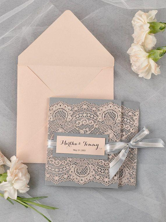 grey and peach lace wedding invitation pocket fold wedding invitations vintage wedding invitation - Vintage Lace Wedding Invitations