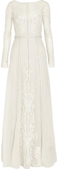Mariage - Temperley London Crivelli embroidered tulle and silk-organza gown