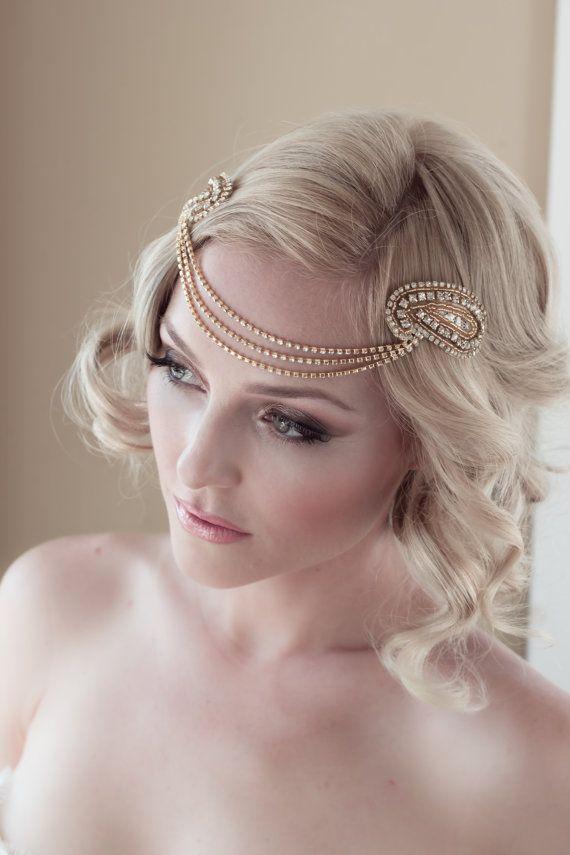 Wedding - Art Deco Bridal Headpiece With Vintage Gold Rhinestone Halo, Seed Bead Leaf Headdress, Bridal Hair Comb Style: Jordan #1408