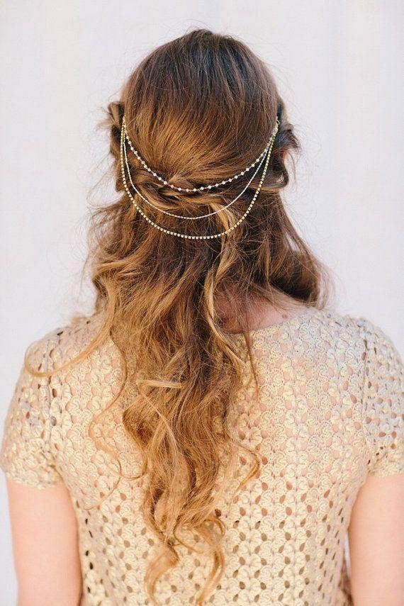Hochzeit - Wrennyn Rhinestone And Pearl Comb, Austrian Crystal Swag, Pearl Chain, Headband, Wedding Headpiece, Bridal Hair Piece, Ships In 1 Month