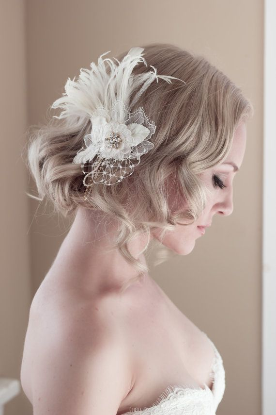 Mariage - Vintage Lace Bridal Headpiece With Feathers, Swarovski Crystals, Velvet Leaves, Regal Net, Pearls, And Rhinestones, Style: Ambrosia #1422