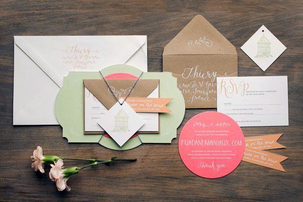 Wedding - Bilingual Rustic French Wedding Invitations