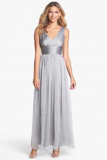 Hochzeit - ML Monique Lhuillier Bridesmaids Sleeveless Ruched Chiffon Dress (Nordstrom Exclusive)
