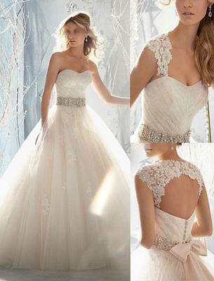 New Stock White / Ivory Wedding Dress Bridal Gown Custom Size 6-8 ...