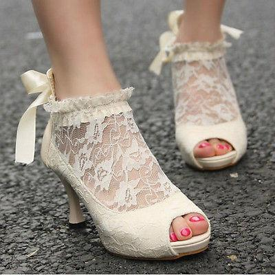 Свадьба - Free White Ladies Wedding Lace Bowknot Ankle Heels Pumps Shoes High heel sandals